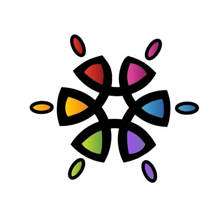 corporate social: Teamwork solidariet� fiore logo di Creative Vettoriali