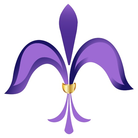 Fleur de lis purple flower with gold Vector