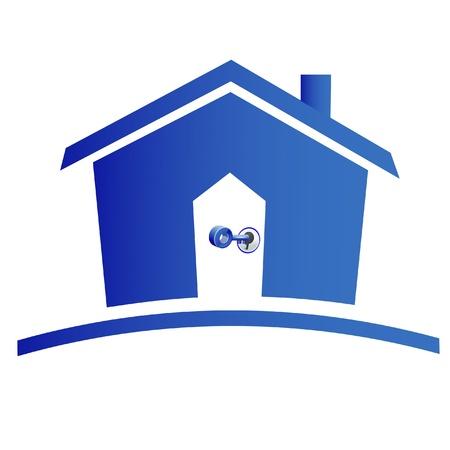 Huis en sleutels creatief ontwerp van het logo