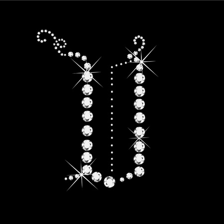 V Letter with diamonds bling stars Vettoriali