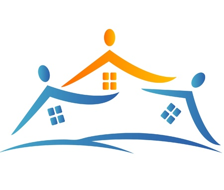 Houses and team people logo Illustration