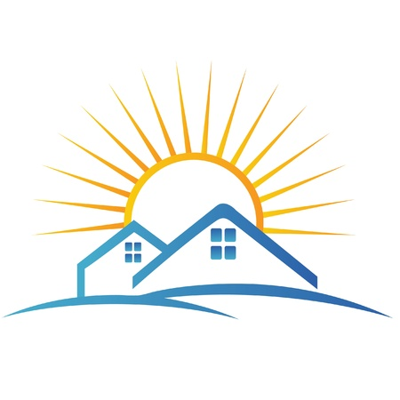House and sun logo Vector