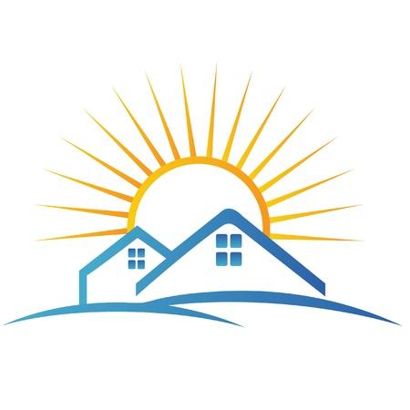 Huis en zon-logo Stock Illustratie
