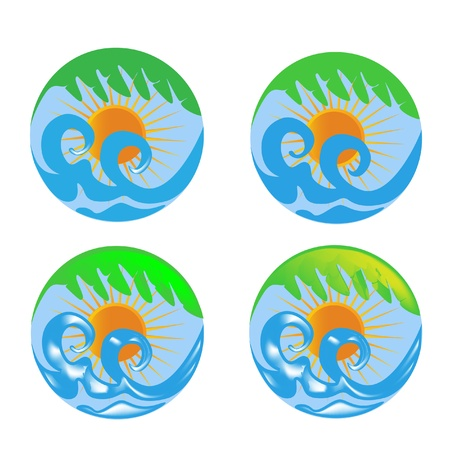 Sun waves and palm logo set Stock Illustratie