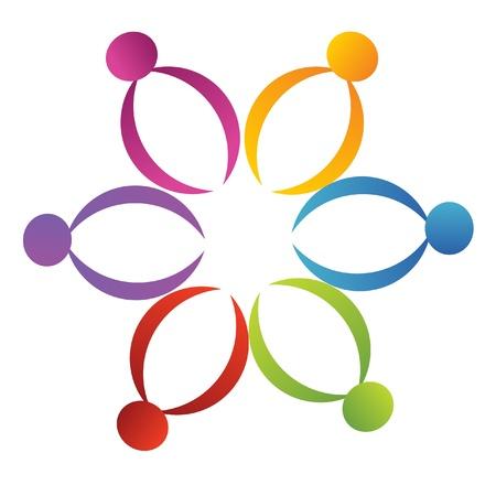 mixed race: Teamwork support flower logo Illustration