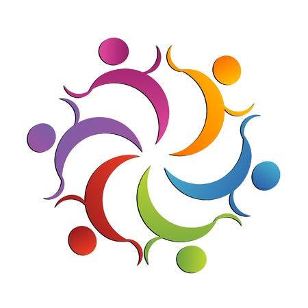 naciones unidas: El trabajo en equipo del grupo logotipo de mango Vectores