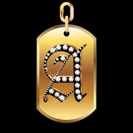 diamond shape: A medal in gold and diamonds