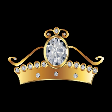 royal crown: Princess crown in gold and diamonds Illustration