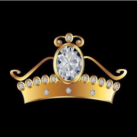 queen diamonds: Principessa corona in oro e diamanti Vettoriali