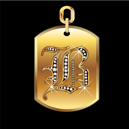 B medal in gold and diamonds vector