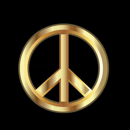 Gold Peace symbol Stock Vector - 11663057