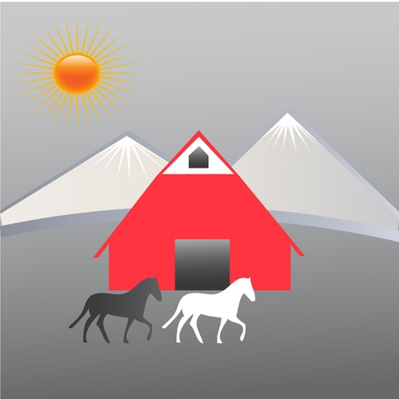 Farm and mountains Vector