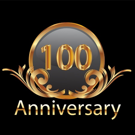 100 years anniversary in gold Vector