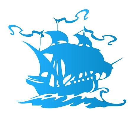 drapeau pirate: Voile navire ou bateau pirate Illustration