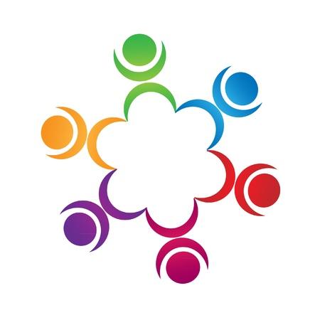 logo terre: Le travail d'�quipe chiffres logo Illustration