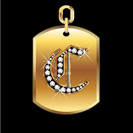 C medal in gold and diamonds vector Vettoriali