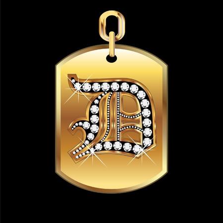 D medaille in goud en diamanten vector
