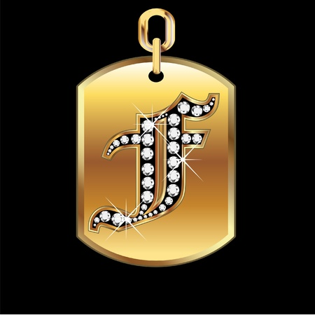 F medal in gold and diamonds vector Vector