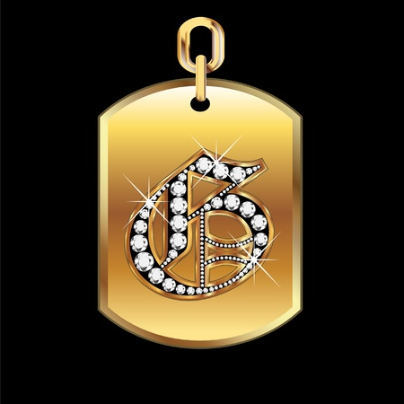 G medal in gold and diamonds vector Vector