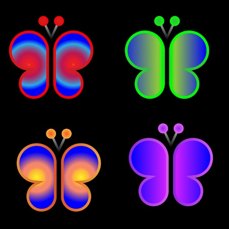 Butterflies neon colors graphic design