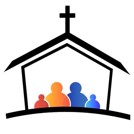familia en la iglesia: Familia de la Iglesia la fe logo