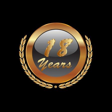 18th Years anniversary Vector