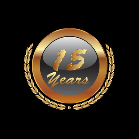 15 Years anniversary in gold Vector