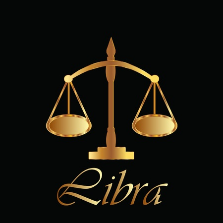 scale of justice: Libra zodiac sign in gold