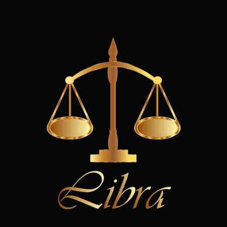 scale of justice: Libra zodiac sign in gold