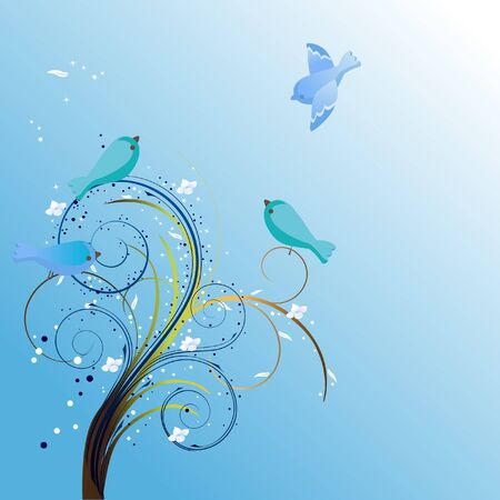 Bluebirds background Vector