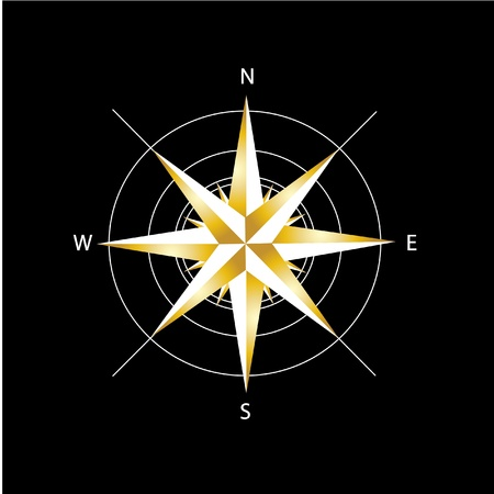 Golden compass rose