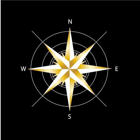 Golden compass rose