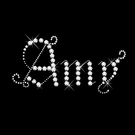 Amy girl name with diamonds  Vector