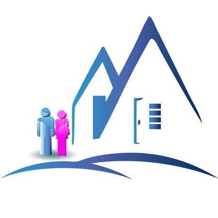 rental agency: Couple with a new house logo