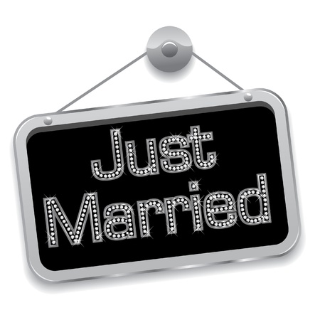 Just married sign bling bling  Illustration