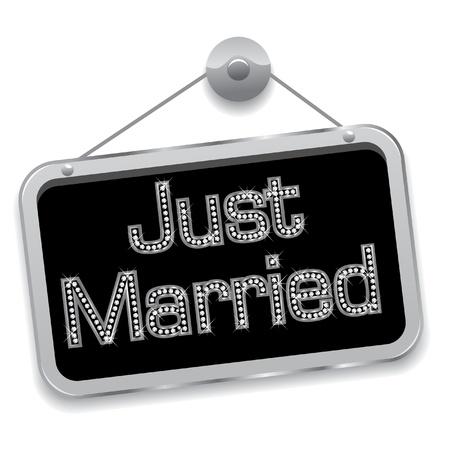 net getrouwd: Just married teken bling bling Stock Illustratie