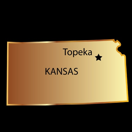 Kansas state usa map Vector
