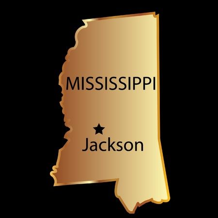 Mississippi state usa map Vector