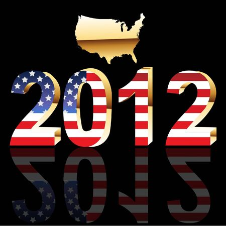 14k:  USA Presidential Election 2012 gold Illustration