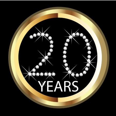 20th years happy anniversary Vettoriali