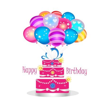 케이크: 풍선과 함께 생일 케이크 일러스트