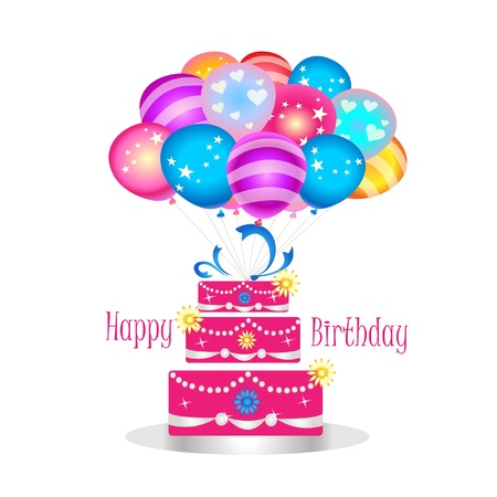 Happy birthday cake with balloons Vector