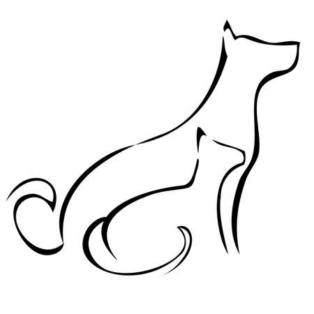 Cat and dog sit silhouettes logo Vector