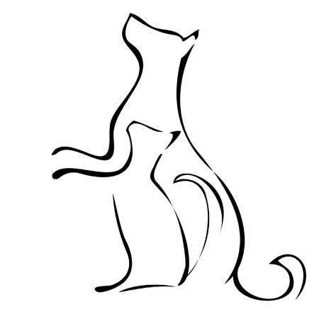 Cat and dog waiting to be fed logo Vettoriali
