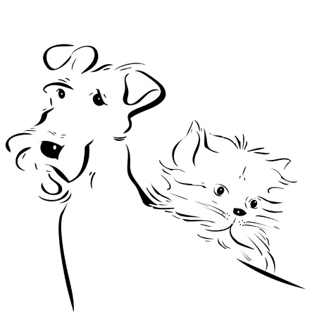 silueta de gato: perro y el logotipo de gatito