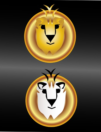 jungle jumping: Cute lions faces logo Illustration
