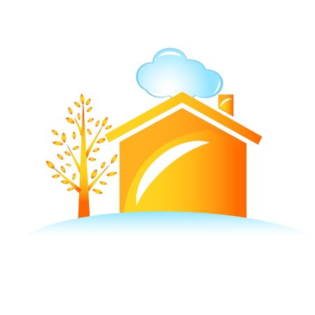 Casa y el logotipo del árbol