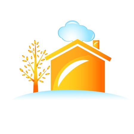 Maison et le logo de l'arbre