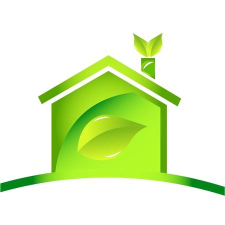 ホームの光沢のある生態学的なアイコンのロゴ  イラスト・ベクター素材