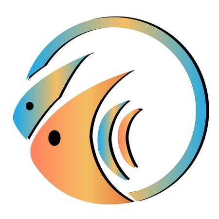 vis: Fish kom logo Stock Illustratie